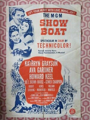 SHOW BOAT US ONE SHEET(27 X 41 ) POSTER AVA GARDNER HOWARD KEEL AGNES MOOREHEAD • 17.99£