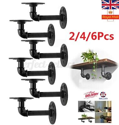 2/4/6X Pipe Shelf Brackets Industrial Iron Rustic Wall Floating Shelves Supports • 17.99£