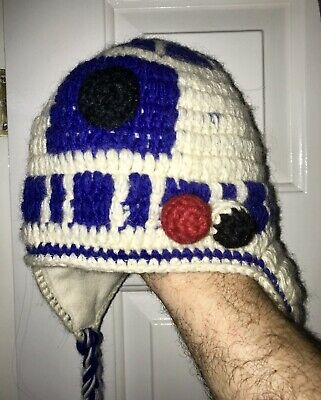 Star Wars Pure Wool Warm Knitted Lined R2D2 Novelty Festival Ski Party Droid Hat • 12.99£