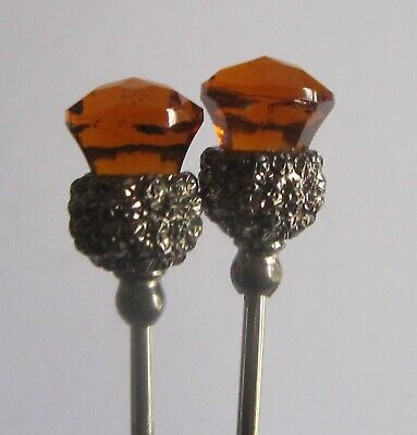 ?CHARLES HORNER - Pair Small Silver And 'citrine' Hat Pins (492) • 50£