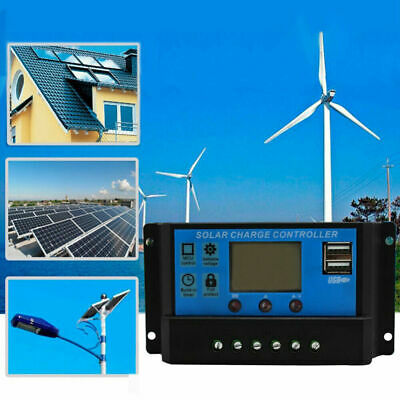 30A LCD Solar Panel Battery Charge Controller 12V 24V Regulator Auto Dual USB • 8.02£