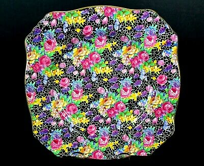 $ CDN65.88 • Buy Royal Winton Grimwades Hazel Chintz Black Ascot Square 8  Plate 1950's