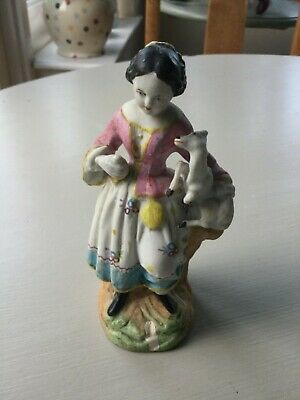 Antique Bisque Figure Of A Girl With Lamb • 34.99£