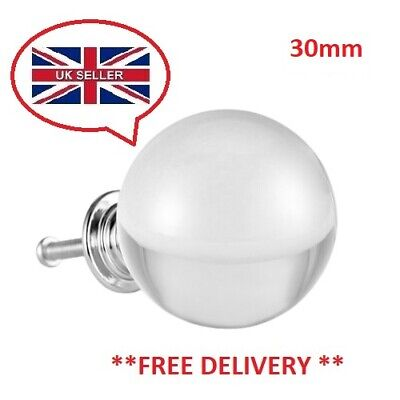 Clearance Glass Door Knobs Clear Cupboard Drawer Furniture Handle Cabinet 30mm • 3.32£