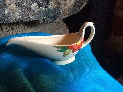 Crown Devon Small Sauce Boat With Bright Raised Red Flower • 2.50£