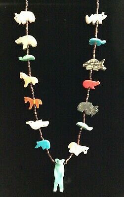 £85.51 • Buy Native American Indian Jewelry Stone Carved Animal Fetish Necklace