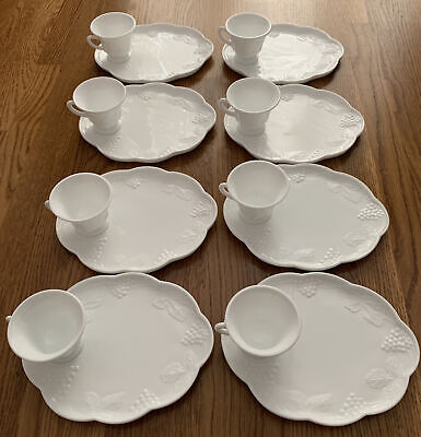 $18.95 • Buy 16 Pc. Colony Harvest Milk Glass Snack Set 8 Plates 8 Footed Cups
