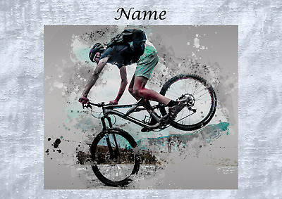 £1.85 • Buy Personalised Handmade Mountain Bike Cycling Birthday Card Brother Step Son Dad