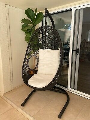 AU190 • Buy Black Hanging Garden Pod Chair With Cushions