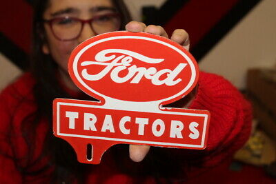 $ CDN20.41 • Buy Ford Tractors Farm Feed & Seed License Plate Topper Gas Oil Porcelain Metal Sign