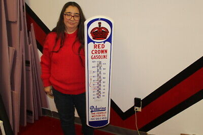 $ CDN338.46 • Buy Large Red Crown Gasoline Polarine Motor Oil 39  Porcelain Metal Thermometer Sign