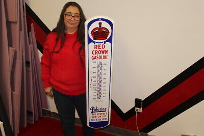 $ CDN328.56 • Buy Large Red Crown Gasoline Polarine Motor Oil 39  Porcelain Metal Thermometer Sign