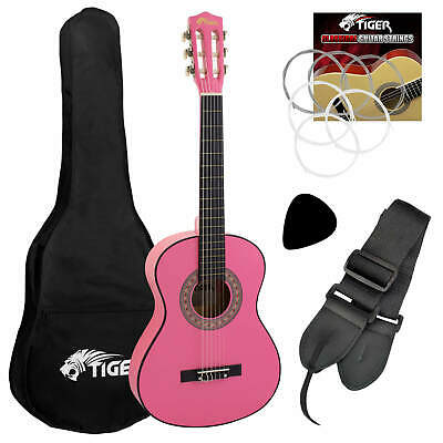 £44.99 • Buy Tiger 3/4 Size Childrens Classical Guitar Pack With Gig Bag, Strap & Picks- Pink