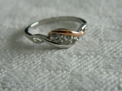 Clogau Silver & 9ct Rose Gold Past, Present, Future Ring RRP £79.00 Size O • 55£