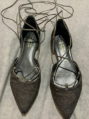 Russell And Bromley Stuart Weitzman Silver Pewter Flat Tie Up Shoes Size 7 • 5£