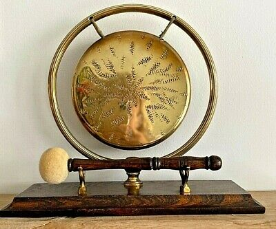Vintage Brass Gong On Wooden Stand With  Wooden Mallet • 70£