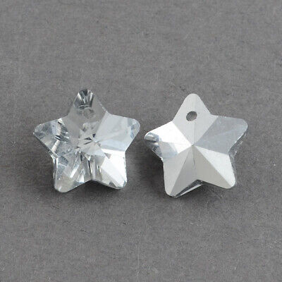 £1.80 • Buy Crystal Star Glass Faceted Grey Pendant Charms Silver Back Pack Of 10