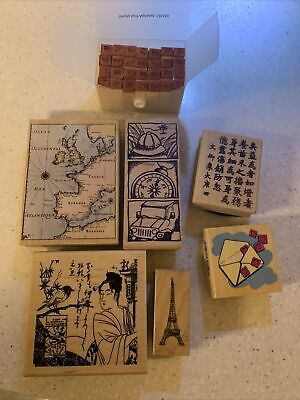 7 Wooden Travel And Alphabet Stamps • 6£
