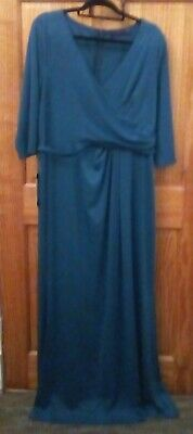 Ever-Pretty Women Maxi Long Jade Dress Size 22 BNWT Long Sleeve Teal With Detail • 10.99£