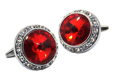 £19.99 • Buy Large Cufflinks With Ruby Red Swarovski Crystals Mens Gift By CUFFLINKS DIRECT