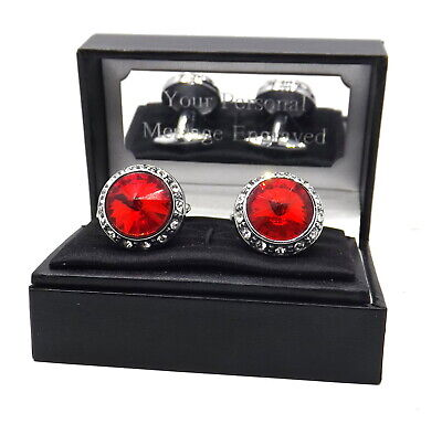 £19.99 • Buy Large Cufflinks With Ruby Red Swarovski Crystals In A Personalised Gift Box