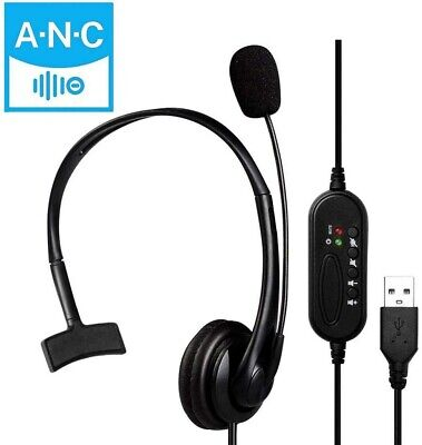 Wired Computer Headset With Microphone For Call Center Office Skype Supplies UK • 14.95£