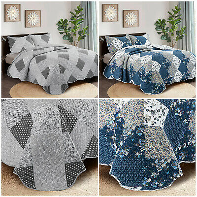 £27.89 • Buy Luxury Quilted Patchwork Bedspread Bed Throw Single Double King Size Bedding Set