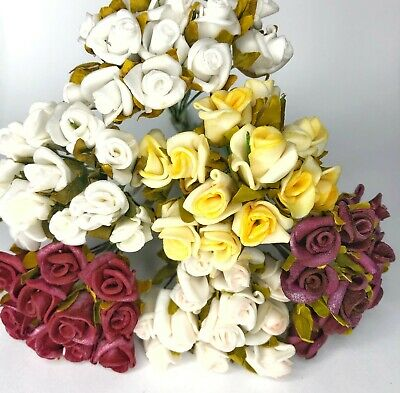 £2.69 • Buy Miniature Foam Rose Buds Faux Flowers With Wire Stem For Card Making Art Craft