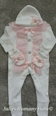 Romany Baby White Sleepsuit Hat & Mitts Set Size Newborn Pink Lace Silver Bling  • 18£