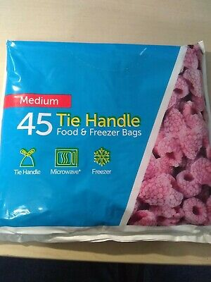 Tie Handle Food And Freezer Bags. Medium Size. 270mm X 410mm.  Writeable Panels. • 3.09£