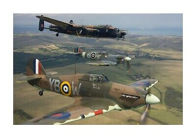 £7.99 • Buy Lancaster Spitfire And Hurricane 10 A4 Picture Photograph Poster Choice Of Frame