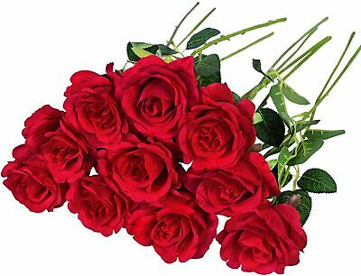 AU21.91 • Buy Valentines Day Gifts For Her 10 Pcs Red Fake Roses Decoration Artificial Flowers