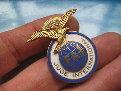 Original ENAMEL BADGE With Eagle - FAI, Juge International. Maker: Fraisse Paris • 4.99£