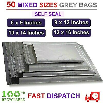 £5.18 • Buy 50 MIXED SIZES MAILING BAGS Grey STRONG Parcel Postage Plastic Post Poly Mailer