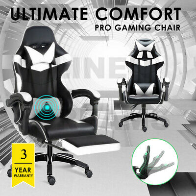 AU158 • Buy Gaming Chair Office Racing PU Leather Executive Massage Racer Footrest White