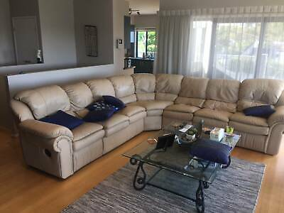 AU650 • Buy Full Leather Modular Corner Couch (7 Seater) With 2 Recliners