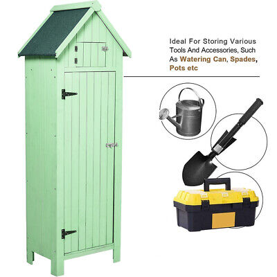 Pine Shed Wooden Tool Storage Utility Cabinet Apex Roof Garden Slim Cupboard UK • 189.95£