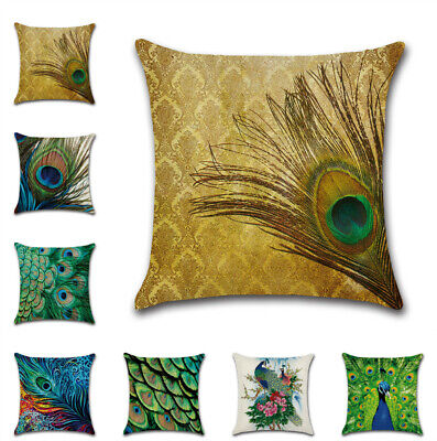 New UK Peacock Feathers Cushion Cover Home Decor Sofa Throw Pillow Case Art 18'' • 4.27£