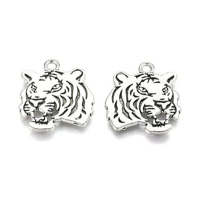 Tiger Face Charms Tibetan Silver Pendant Cat Pack Of 10 • 2.60£