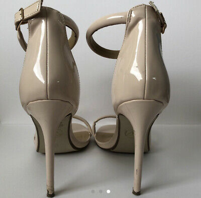 Missguided Block Heeled Barely There Shoe, Size 8, Nude • 5£