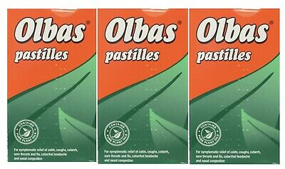 3x OLBAS PASTIILLES 45g Clears The Head, Soothes The Throat • 12.05£