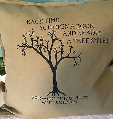 Throw Pillow Cover Book Reader 20x20 Quote Olive Green  Beautiful Cozy • 10.73£