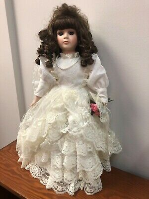 $ CDN4.80 • Buy 17  Porcelain Doll In Wedding Dress Vintage, Brand New Condition, Brown Hair