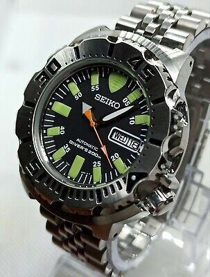 $ CDN165.85 • Buy Seiko Black Monster Custom Mod 4R36A Day Date Diver's Automatic Men's Watch.