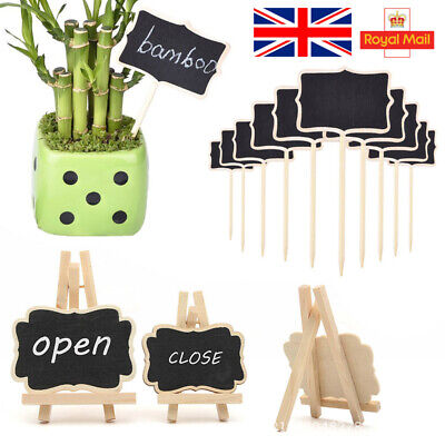 £9.48 • Buy 24Pcs Mini Wooden Blackboard Wedding Party Chalkboard Sign Message Table Stand