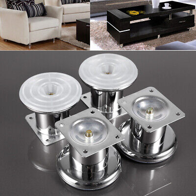 4x Chrome Feet 60mm- Furniture Feet/Legs For Sofas, Beds, Chairs, Settee • 9.99£