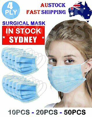 AU11.49 • Buy Face Mask Mouth Masks Surgical 4 Ply Protective Anti Bacterial Ce Certified Syd