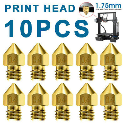 AU3.76 • Buy 10pcs 3D Printer 1.75mm/0.4mm MK8 Extruder Nozzles Tool Kit For Ender 3 PRO CR10