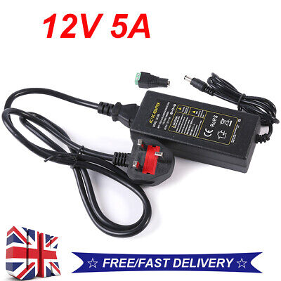 Ac Dc 12v 1a/2a/5a Power Supply Adapter Charger For Camera / Led Strip Cctv *uk • 4.69£