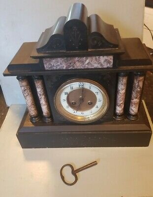 Marble Slate 19th Century Architectural Style Mantle Clock For Repair • 55£